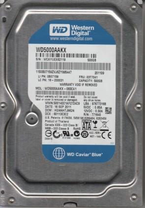 WD5000AAKX-083CA1, DCM HGNNHTJMGN, Western Digital 500GB SATA 3.5 Hard Drive