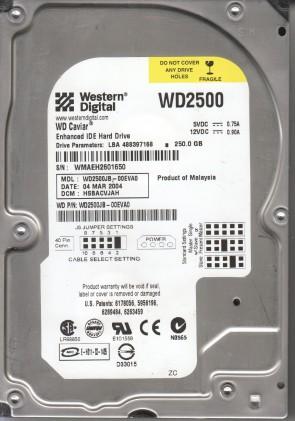 WD2500JB-00EVA0, DCM HSBACVJAH, Western Digital 250GB IDE 3.5 Hard Drive