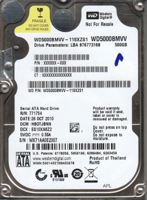 WD5000BMVV-11SXZS1, DCM HBOTJBNN, Western Digital 500GB USB 2.5 Hard Drive