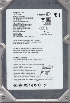 ST3200822AS, 5LJ, WU, PN 9W2854-150, FW 3.02, Seagate 200GB SATA 3.5 Hard Drive