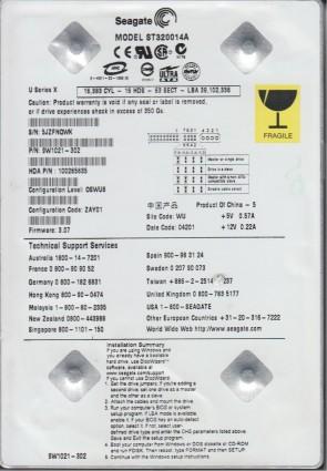 ST320014A, 5JZ, WU, PN 9W1021-302, FW 3.07, Seagate 20GB IDE 3.5 Hard Drive