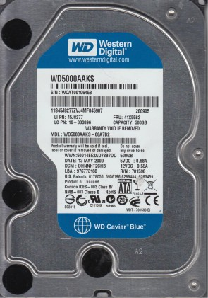 WD5000AAKS-08A7B2, DCM DHNNHT2CHB, Western Digital 500GB SATA 3.5 Hard Drive