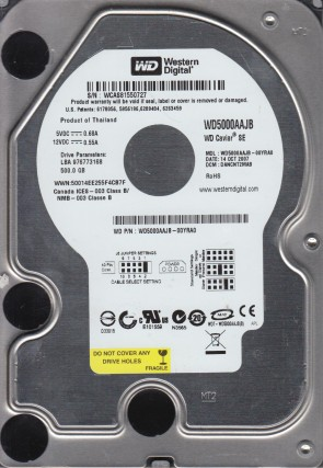 WD5000AAJB-00YRA0, DCM DANCNT2MAB, Western Digital 500GB IDE 3.5 Hard Drive