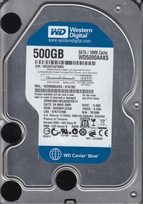 WD5000AAKS-07A7B2, DCM HARNHTJCAB, Western Digital 500GB SATA 3.5 Hard Drive