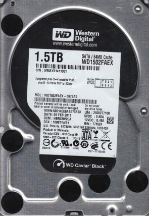 WD1502FAEX-007BA0, DCM HBRCHV2CA, Western Digital 1.5TB SATA 3.5 Hard Drive