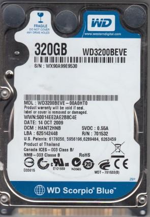 WD3200BEVE-00A0HT0, DCM HANT2HNB, Western Digital 320GB IDE 2.5 Hard Drive