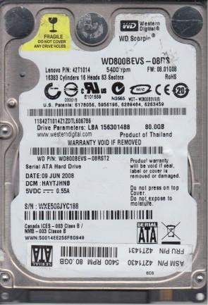 WD800BEVS-08RST2, DCM HAYTJHNB, Western Digital 80GB SATA 2.5 Hard Drive