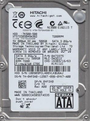HTS725050A9A362, PN 0A73375, MLC DA3212, Hitachi 500GB SATA 2.5 Hard Drive