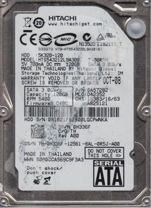 HTS543212L9A300, PN 0A57282, MLC DA2352, Hitachi 120GB SATA 2.5 Hard Drive