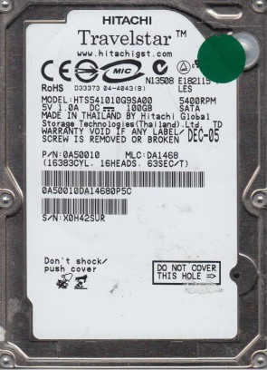 HTS541010G9SA00, PN 0A50010, MLC DA1468, Hitachi 100GB SATA 2.5 Hard Drive