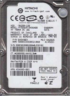 HTS542512K9SA00, PN 0A54903, MLC DA2026, Hitachi 120GB SATA 2.5 Hard Drive