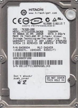 HTS723220L9A360, PN 0A58934, MLC DA2459, Hitachi 200GB SATA 2.5 Hard Drive