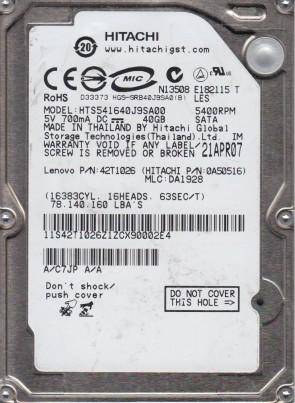 HTS541640J9SA00, PN 0A50516, MLC DA1928, Hitachi 40GB SATA 2.5 Hard Drive