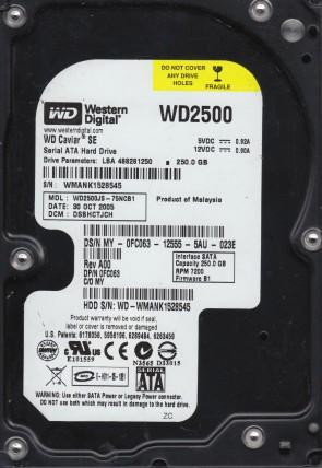 WD2500JS-75NCB1, DCM DSBHCTJCH, Western Digital 250GB SATA 3.5 Hard Drive