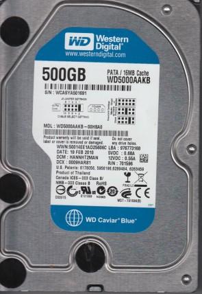 WD5000AAKB-00H8A0, DCM HANNHT2MAN, Western Digital 500GB IDE 3.5 Hard Drive