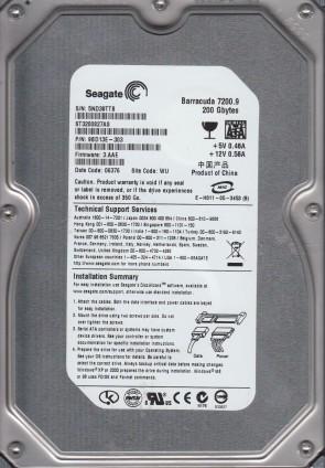 ST3200827AS, 5ND, WU, PN 9BD13E-303, FW 3.AAE, Seagate 200GB SATA 3.5 Hard Drive