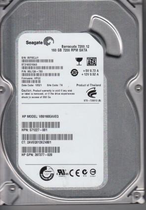 ST3160318AS, 9VY, TK, PN 9SL13A-780, FW HPG0, Seagate 160GB SATA 3.5 Hard Drive