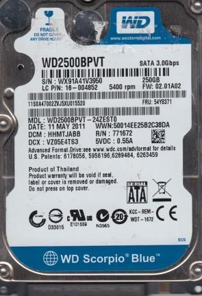WD2500BPVT-24ZEST0, DCM HHMTJABB, Western Digital 250GB SATA 2.5 Hard Drive