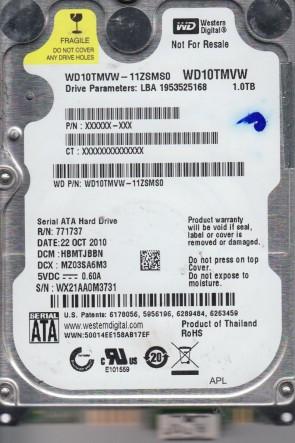 WD10TMVW-11ZSMS0, DCM HBMTJBBN, Western Digital 1TB USB 2.5 Hard Drive