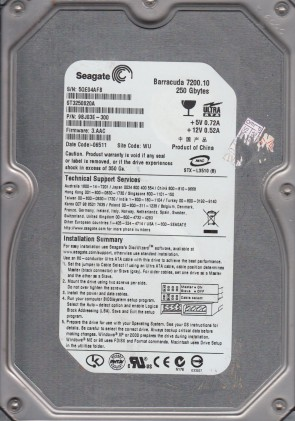 FW 0003HPM1 Seagate 500GB SATA 2.5 Hard Dr 6WR SU ST9500423AS PN 9RT143-020