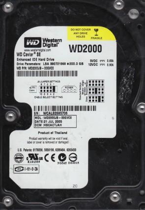 WD2000JB-00GVC0, DCM HSCACTJAH, Western Digital 200GB IDE 3.5 Hard Drive