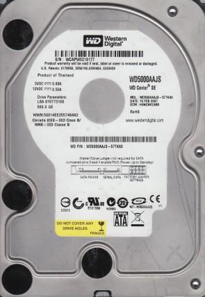 WD5000AAJS-57TKA0, DCM HANCNV2ABB, Western Digital 500GB SATA 3.5 Hard Drive