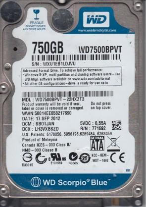 WD7500BPVT-22HXZT3, DCM SBOTJAN, Western Digital 750GB SATA 2.5 Hard Drive