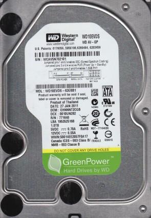 WD10EVDS-63U8B1, DCM EHNNNT2CGB, Western Digital 1TB SATA 3.5 Hard Drive