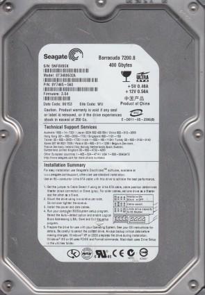 ST3400632A, 5NF, WU, PN 9Y7465-560, FW 3.04, Seagate 400GB IDE 3.5 Hard Drive