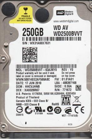 WD2500BVVT-63A26Y0, DCM HHCVJHNB, Western Digital 250GB SATA 2.5 Hard Drive