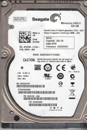 ST9320325AS, 5VD, WU, PN 9HH13E-035, WU, FW D003DEM1, Seagate 320GB SATA 2.5 Hard Drive