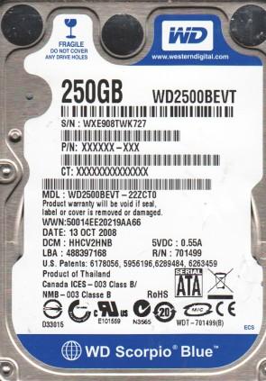 WD2500BEVT-22ZCT0, DCM HHCV2HNB, Western Digital 250GB SATA 2.5 Hard Drive