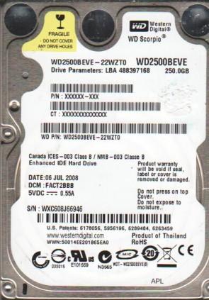 WD2500BEVE-22WZT0, DCM FACT2BBB, Western Digital 250GB IDE 2.5 Hard Drive