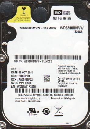 WD3200BMVW-11AMCS2, DCM HB0T2HB, Western Digital 320GB USB 2.5 Hard Drive