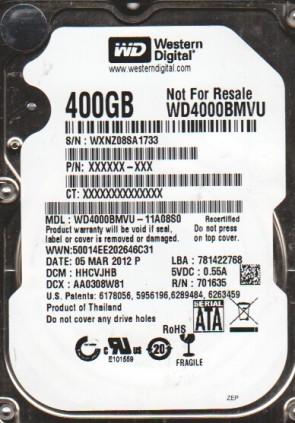 WD4000BMVU-11A08S0, DCM HHCVJHB, Western Digital 400GB USB 2.5 Hard Drive