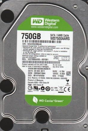 WD7500AARS-00Y5B1, DCM DBRNHT2MH, Western Digital 750GB SATA 3.5 Hard Drive