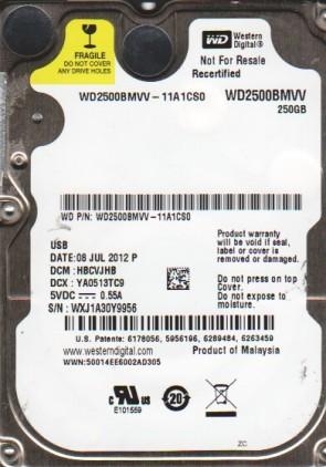 WD2500BMVV-11A1CS0, DCM HBCVJHB, Western Digital 250GB USB 2.5 Hard Drive