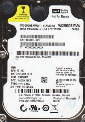WD5000BMVW-11AMCS0, DCM DACVJBB, Western Digital 500GB USB 2.5 Hard Drive