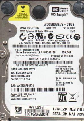 WD2500BEVS-08UST0, DCM HHOTJABB, Western Digital 250GB SATA 2.5 Hard Drive