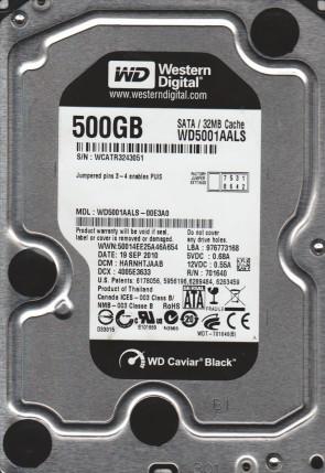 WD5001AALS-00E3A0, DCM HARNHTJAAB, Western Digital 500GB SATA 3.5 Hard Drive
