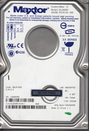7Y250P0 KGGD Code YAR41BW0 Maxtor 250GB IDE 3.5 Hard Drive