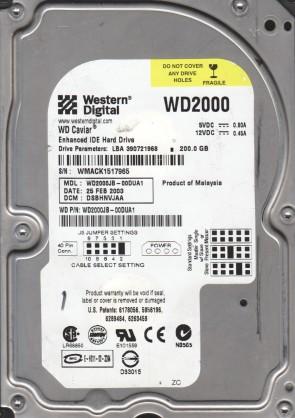 WD2000JB-00DUA1, DCM DSBHNVJAA, Western Digital 200GB IDE 3.5 Hard Drive