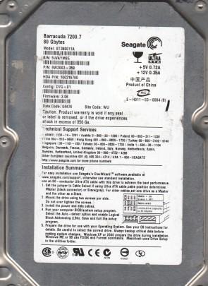 ST380011A, 5JV, WU, PN 9W2003-359, FW 3.06, Seagate 80GB IDE 3.5 Hard Drive