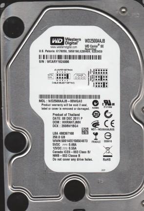 WD2500AAJB-00WGA0, DCM HHRNHTJMH, Western Digital 250GB IDE 3.5 Hard Drive