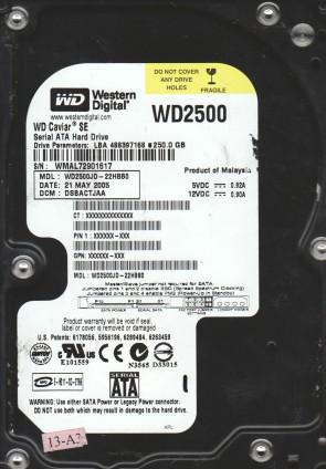 WD2500JD-22HBB0, DCM DSBACTJAA, Western Digital 250GB SATA 3.5 Hard Drive