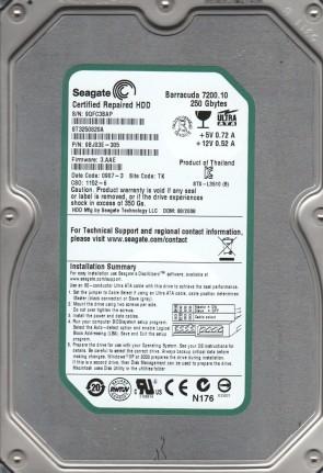 ST3250820A, 9QF, TK, PN 9BJ03E-305, FW 3.AAE, Seagate 250GB IDE 3.5 Hard Drive