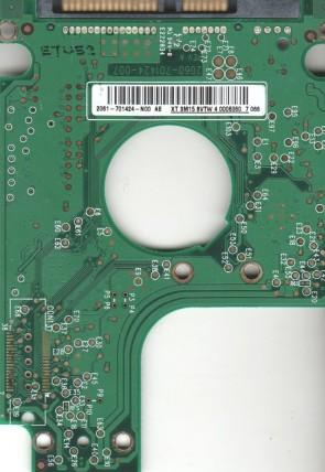 WD400BEVS-75LAT0, 2061-701424-N00 AE, 007 REV A, WD SATA 2.5 PCB