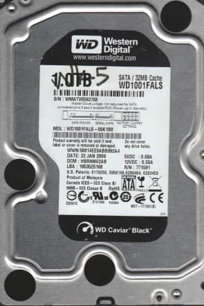 WD1001FALS-00K1B0, DCM HBRNNV2AB, Western Digital 1TB SATA 3.5 Hard Drive