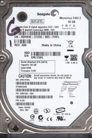 ST98823AS, 5PK, WU, PN 9W3183-030, FW 8.03, Seagate 80GB SATA 2.5 Hard Drive
