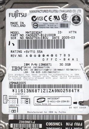 MHT2030AT, PN CA06297-B121000B, Fujitsu 30GB IDE 2.5 Hard Drive
